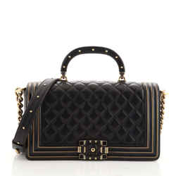Chanel Studded Handle Boy Flap Bag Quilted Lambskin Old Medium