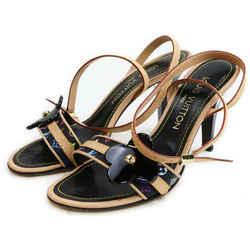 Louis Vuitton Size 36 Black Monogram Multicolor Fleur Strappy Sandals 862960