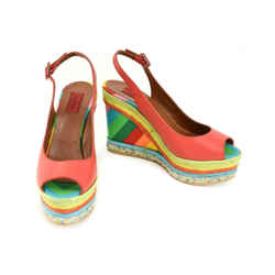 Valentino Garavani: Red, Leather & Multicolor Wedge Sandals/heels Sz: 9.5m
