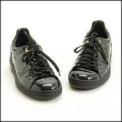 Rdc11528 Authentic Louis Vuitton Black Patent Leather Lace Up Sneakers Size 37
