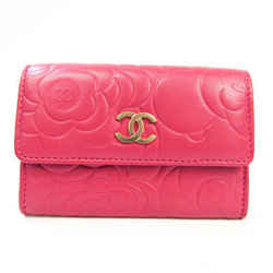 Chanel Camellia Leather Business Card Case Pink BF531564