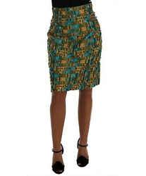 Dolce & Gabbana Multicolor Jacquard Straight Pencil Women's Skirt