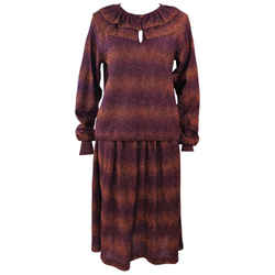 MISSONI Bronze and Purple Metallic Knit Skirt Set Size 8