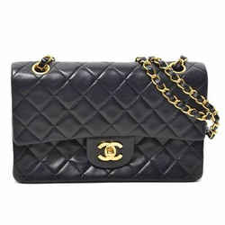 Auth Chanel Lambskin W Flap Matrasse G Metal Fittings Shoulder Leather Bag