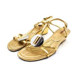 Prada Size 7.5/8 Gold & Silver Strappy Sandal Wedges