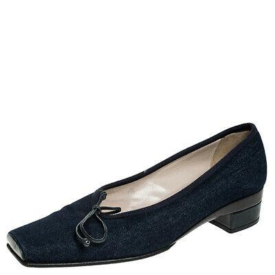 Chanel Blue Denim Fabric Trim Block Heel Bow Detail Pumps Size 38.5