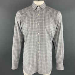 Tom Ford Size Xl Gray Plaid Cotton Button Up Long Sleeve Shirt