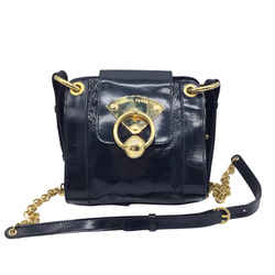 Alberta Ferretti Navy Patent Leather and Gold Shoulder Bag