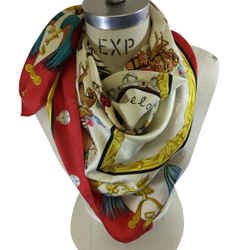 "Hermes ""plumes Et Grelots"" Holiday/winter Theme Silk Scarf"