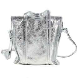 Balenciaga - New - Metallic Silver Leather Shoulder Tote Bag - Bazaar