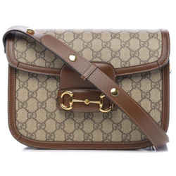 Chain Shoulder Horsebit New Beige 1955 Gg Supreme Brown Leather Cross Body Bag