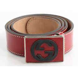 Gucci Patent Leather GG Plaque Belt