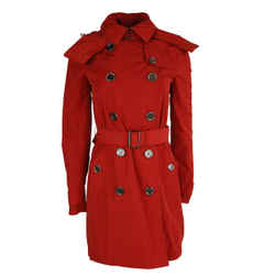 Burberry Brit Red Hooded Trench Coat