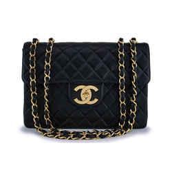 Chanel Vintage Black Lambskin Jumbo Classic Flap Bag 24k GHW