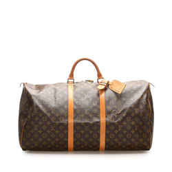Vintage Authentic Louis Vuitton Brown Monogram Keepall Bandouliere 60 France