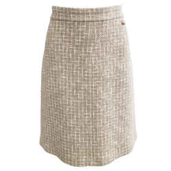 Chanel Tan and White Tweed Skirt