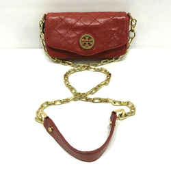 $265 Tory Burch Classic Fold Over Mini Quilted Leather Bag Red Chain Crossbody