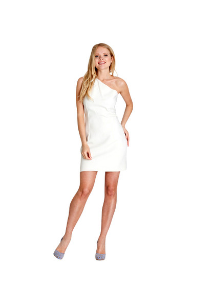 Michael Kors White One Shoulder Shift Dress