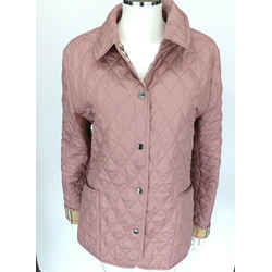 Burberry Pink Quilted Jacket Coat Sz M Nova Check Lining