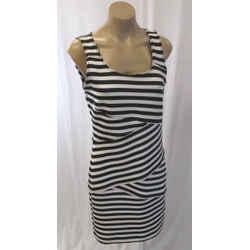 Michael Michael Kors Black & White Dress W/ Diagonal Striping - Size 6
