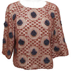 Tory Burch Top Blouse 3/4 Sleeve Crochet Knit Brown Navy Blue Floral Sz 6