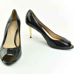 Versace: Black, Monogram Geo Logo Leather & Gold Heel, Pumps Sz: 8.5M