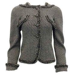 Chanel Black and Tan 2012 Tweed Fringe Trim Blazer