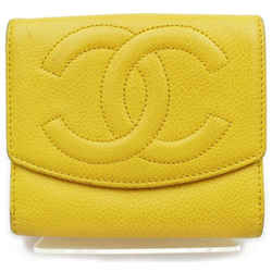 Chanel 872039 Yellow Caviar Square Cc Logo Compact Wallet