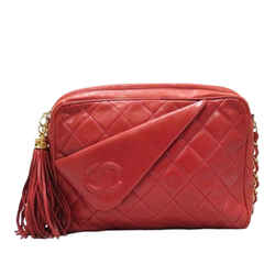 Vintage Authentic Chanel Red Lambskin Leather Leather CC Crossbody France