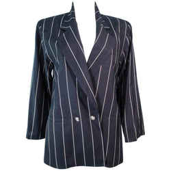GIANNI VERSACE Black and Cream Striped Jacket Size 6