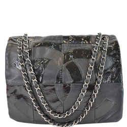 Brooklyn Patchwork Flap Patent Leather Shoulder Bag Black
