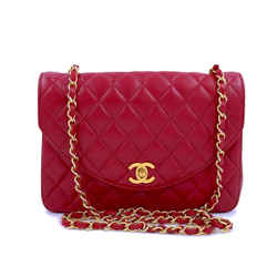 Chanel Vintage Red Curved Quilted Flap Bag 24k GHW
