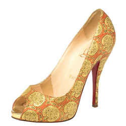 Christian Louboutin God/Red Jacquard Fabric Very Prive Pumps Size 36.5