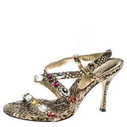 Dolce and Gabbana Beige Python Crystal Embellished Slingback Sandals Size 37