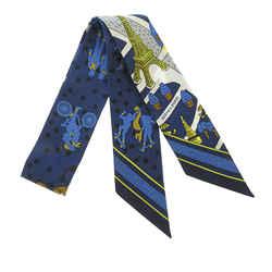 Blue Hermes Les Nouveaux Amoureux de Paris Twilly Silk Scarf
