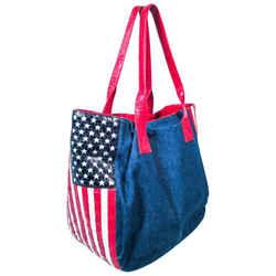 NANCY GONZALEZ CAYMAN Crocodile American Flag Denim Carry All Purse