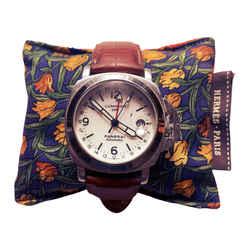 HERMES Vintage Orange Tulip Cravatte Cedar Watch Pillow