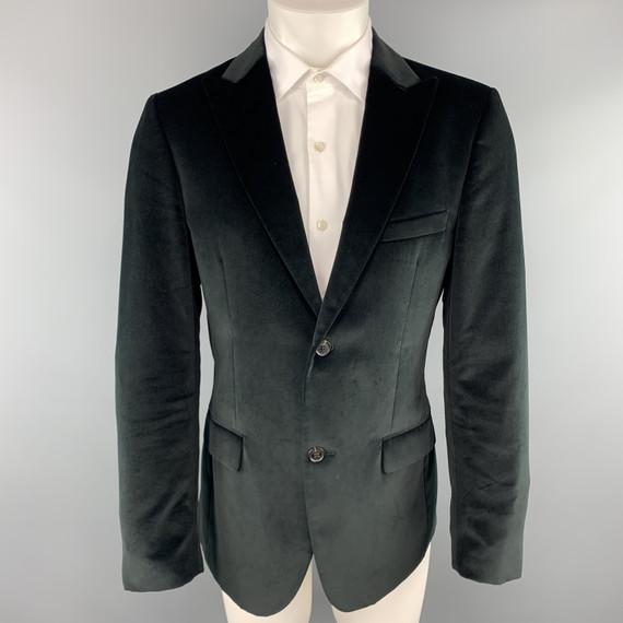 Calvin Klein Collection Size 38 Short Black Cotton Velvet Peak Lapel Sport Coat