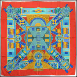 Rdc10783 Authentic Hermes Multicolor L' Art Indien Des Plaines Silk Scarf