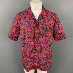 DRIES VAN NOTEN S/S 20 Size M Fuchsia & Green Floral Viscose Camp Short Sleeve Shirt