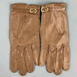 LOEWE Tan Leather Gold Buckle Gloves