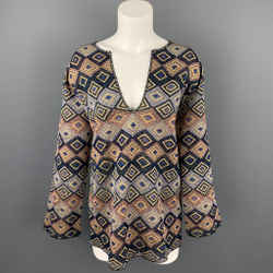 DRIES VAN NOTEN Size S Multi-Color Jacquard Geometric Polyester Blend Blouse