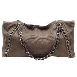 Chanel Silver Chain Trimmed Large Brown Leather Shoulder Bag