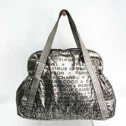 Chanel Unlimited Women's Nylon Boston Bag,Tote Bag Black,Silver BF518004