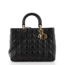 Vintage Lady Dior Bag Cannage Quilt Lambskin Large