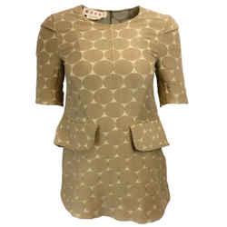 Marni Tan Circle Printed Cotton & Silk Short Sleeved Blouse