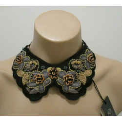 Piazza Sempione Black Floral Embroidered Bib/necklace With Ties At Back - Nwt