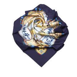 Blue Hermes Cavaliers Peuls Silk Scarf