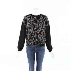 Valentino 2019 Embroidered Lips Flower Cashmere Sweater SZ S