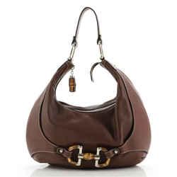 Bamboo Horsebit Shoulder Bag Leather Large